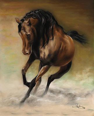 Charcoal Horse Drawing - Arabian Pastel Drawing by John Harding