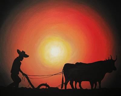 Sowing Painting - Arado De Bueyes by Edwin Alverio
