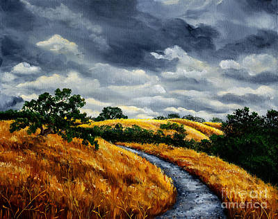 Stanford Wall Art - Painting - Arastradero Trail In Early Autumn by Laura Iverson