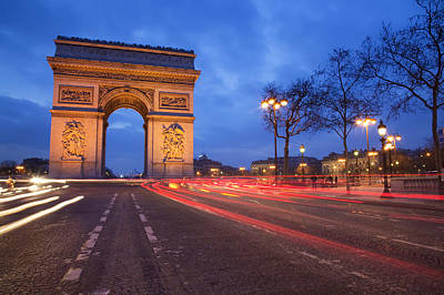 Paris Street Photograph - Arc De Triomphe At Night by Martin Child