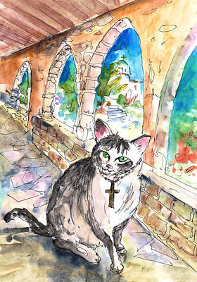 Travel Sketch Drawing - Arch Bishop Of Caterbury by Miki De Goodaboom