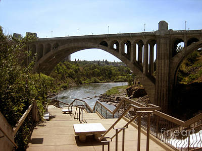 Photograph - Arch Monroe Street Bridge Spokane River by Ann Powell