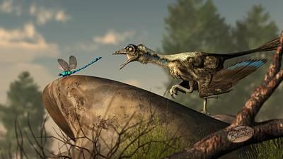 Animals Digital Art - Archaeopteryx-Dinosaur or Bird by Daniel Eskridge