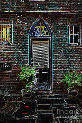 Digital Art - Arched Doorway French Quarter New Orleans Colored Glowing Edges Art by Shawn O'Brien