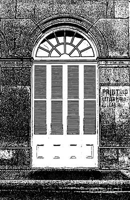 Arched White Shuttered Window French Quarter New Orleans Photocopy Digital Art  Art Print by Shawn O'Brien