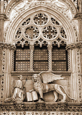 Photograph - Arched Window With Lion Of Venice by Donna Corless