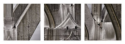 Yaquina Bay Bridge Photograph - Architectural Detail Triptych by Carol Leigh