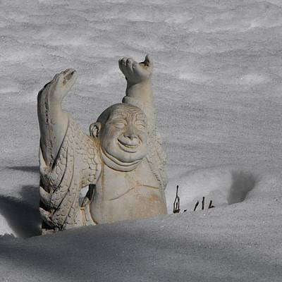 Photograph - Architecture Buddha Indifferent To The Snow by William OBrien