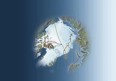 Arctic Exploration, Route Maps Art Print by Mikkel Juul Jensen