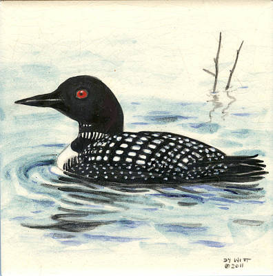 Hand-painted Ceramic Art Tile Painting - Arctic Loon by Dy Witt