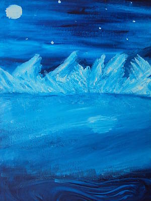 Night Sky With Moon Painting - Arctic Zero by Casey P