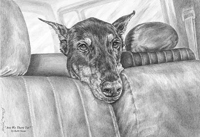 Pinscher Drawing - Are We There Yet - Doberman Pinscher Dog Print by Kelli Swan