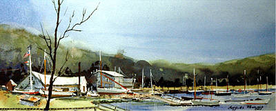 Cape Cod Painting - Areys Pond Boat Yard by Charles Rowland