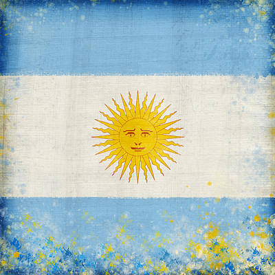Sports Paintings - Argentina flag by Setsiri Silapasuwanchai