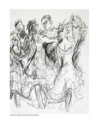 Drawing - Argentinian Tango by Reza Sepahdari