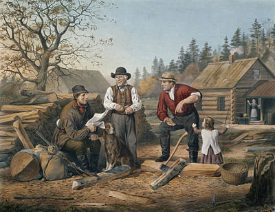 Log Cabin Painting - Arguing The Point by Currier and Ives