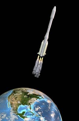 Ariane 44l Rocket Launch, Artwork Print by Friedrich Saurer