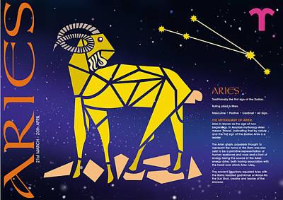 Signs Of The Zodiac Digital Art - Aries Zodiac Poster by John Hebb
