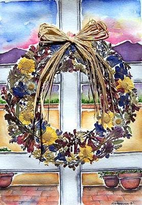 Arizona Wildflower Wreath Art Print by Regina Ammerman
