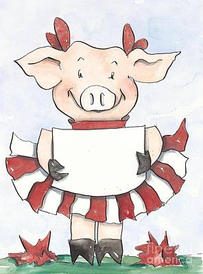 Arkansas Razorback Cheer Piggy Art Print by Annie Laurie