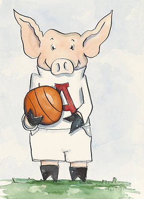 Arkansas Razorbacks - Basketball Piggie Art Print by Annie Laurie