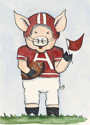 Kids Sports Art Painting - Arkansas Razorbacks - Football Piggie by Annie Laurie