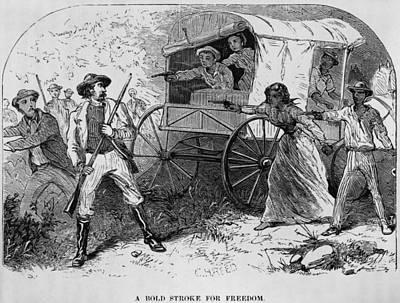 Armed Fugitive Slave Family Defending Art Print by Everett