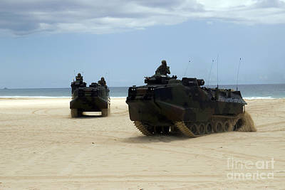 Armored Assault Vehicles Performing Art Print by Stocktrek Images