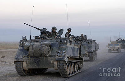Armored Vehicles Leaving Samarra, Iraq Art Print by Stocktrek Images