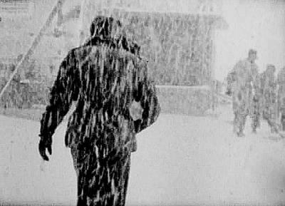 Army Base Snowstorm Art Print by Dale Stillman
