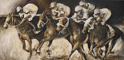 Horserace Painting - Around The Far Turn by Francine Stuart