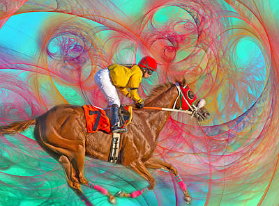 Race Horse Digital Art - Around Us by Betsy Knapp