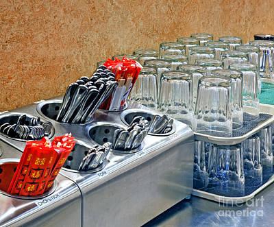 Arranged Glasses And Silverware Art Print by David Buffington