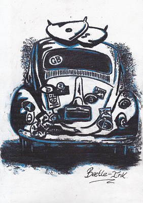 Iconic Car Drawing - Art-haus-ink by Sharon Poulton