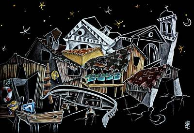 Edificios Painting - Art Night Design Original Drawing -  Gondola Squero San Trovaso Venezia Italia by Arte Venezia