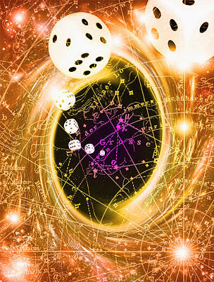 Art Of Dice, A Black Hole And Chance Art Print by Mehau Kulyk