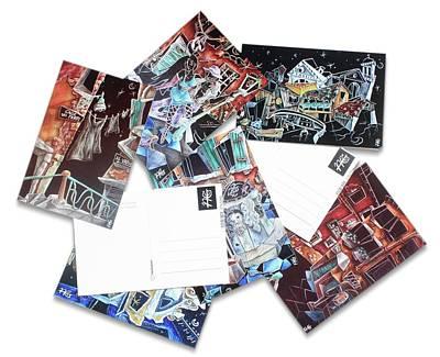 Night Lamp Painting - Art Postcards Venice - Cartoline Arte Di Venezia - Venedig Kunst Postkarten by Arte Venezia