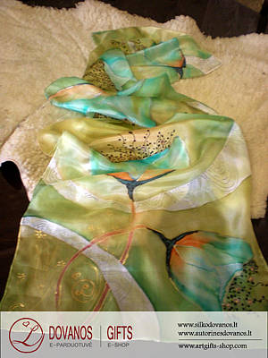 Art To Wear Silk Scarf Blooming Life Hand Painted Daily For Women Original by L Gifts E-shop
