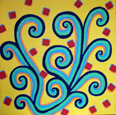 Lively But Commented Painting - Artdeco 18 by Sandra Conceicao