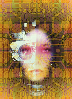 Abstrac Photograph - Artificial Intelligence: Face And Circuit Board by Mehau Kulyk