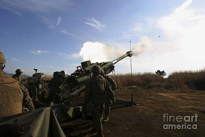 Artillerymen Fire A 155mm Round Art Print by Stocktrek Images