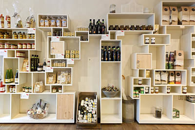 Artisan Product Shelves In A Country Art Print