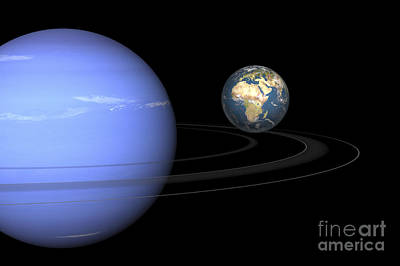 Jovian Digital Art - Artist Concept Of Neptune And Earth by Walter Myers
