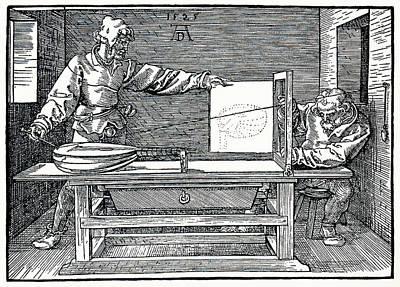 Artist Drawing A Lute Art Print