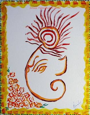 Art Print featuring the painting Artistic Lord Ganesha by Sonali Gangane