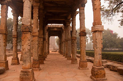 Artistic Pillars Are All That Remain Of This Old Monument Inside The Qutub Minar Complex Art Print by Ashish Agarwal