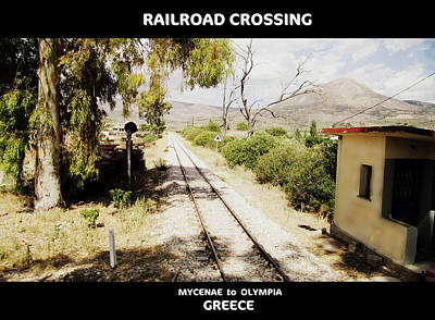 Photograph - Artistic Railroad Crossing In Panoramic Cinemascope View On The Way From Mycenae To Olympia Greece by John Shiron