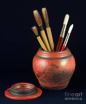 Raku Photograph - Artist's Brushes by Vilas Malankar