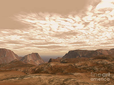 Digital Art - Artists Concept From Atop Olympus Mons by Walter Myers