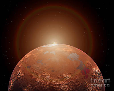 Science Fiction Royalty-Free and Rights-Managed Images - Artists Concept Of A Distant Red Planet by Mark Stevenson